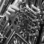 Tuba mit hand